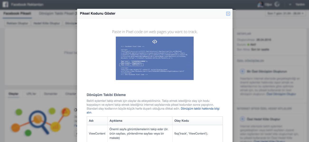Facebook Dönüşüm Pikseli Eylem Ekleme