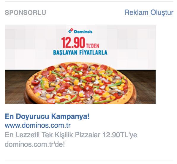 Facebook dönüşüm pikseli - sponsorlu reklam örneği