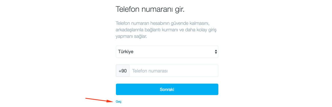 Twitter Kaydol Telefon Onayı Sayfası