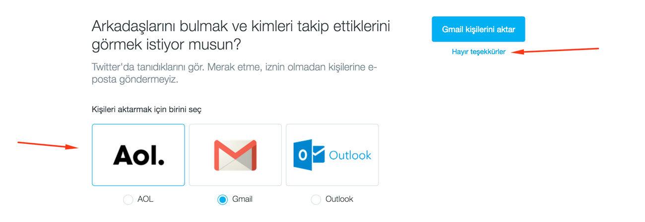 Twitter Kaydol Ekranında Mail ile Arkadaşlarınızı Bulma