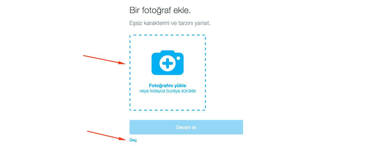 Twitter Kaydol Sırasında Profil Fotoğrafı Belirleme Ekranı