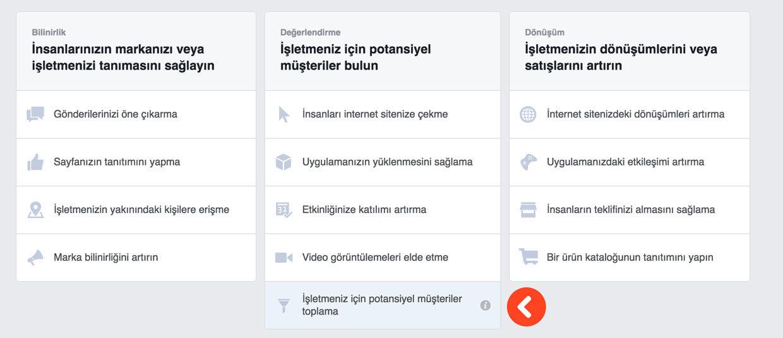 Facebook Potansiyel Müşteri Bulmak - Reklam Oluşturma