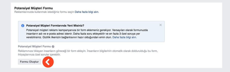 Facebook potansiyel müşteriler bulma - form doldurma reklamı