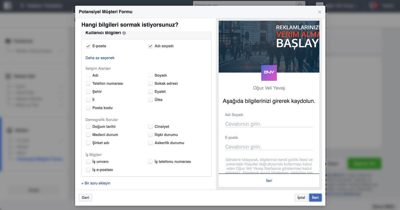 Facebook'tan form toplamak - Facebook potansiyel müşteriler bulma reklamı - Facebook'tan form doldurmak