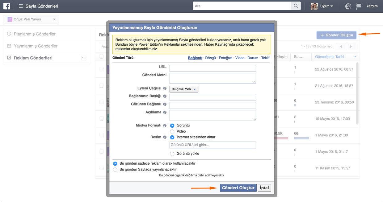 Facebook Yayınlanmamış Gönderi Türleri - Facebook Gönderi Öne Çıkarma Reklam Modeli Nasıl Kullanılır