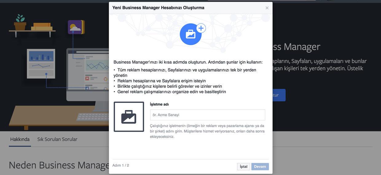 Facebook Bussiness yeni reklam hesabı açma