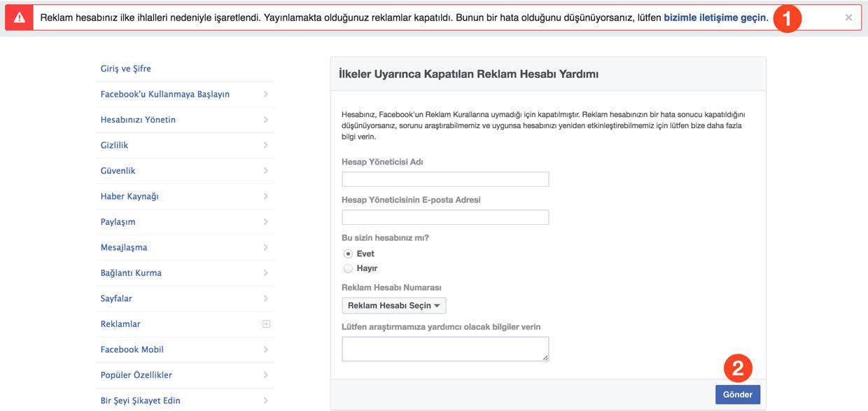 Kapatılan Facebook reklam hesabını açma başvuru formu