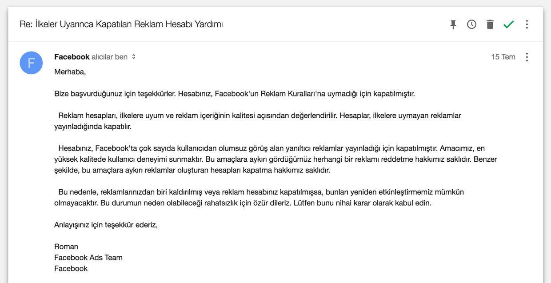 İlke ihlali nedeniyle kapatılan Facebook hesabı açma başvuru maili